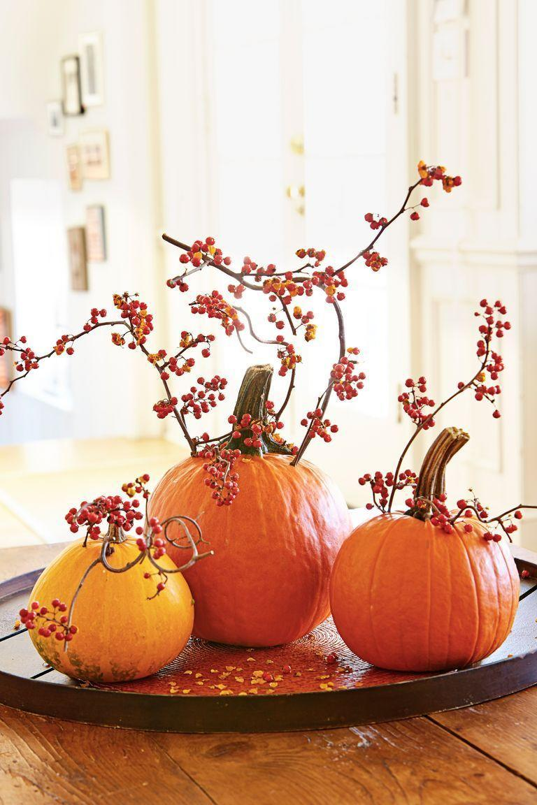 """<p>Let berry branches steal the show by inserting them into a trio of orange pumpkins. </p><p><a class=""""link rapid-noclick-resp"""" href=""""https://www.amazon.com/Lvydec-Pack-Artificial-Berry-Stems/dp/B07YFKTLBG/?tag=syn-yahoo-20&ascsubtag=%5Bartid%7C10055.g.33437890%5Bsrc%7Cyahoo-us"""" rel=""""nofollow noopener"""" target=""""_blank"""" data-ylk=""""slk:SHOP BERRY BRANCHES"""">SHOP BERRY BRANCHES</a></p>"""