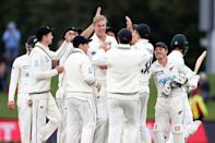 New Zealand's Kyle Jamieson (centre) celebrates taking the wicket of Shan Masood as Pakistan finished day three on 8-1 in Christchurch