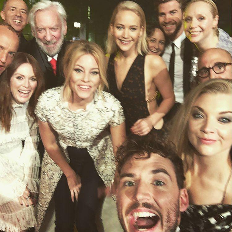 <p>Sam Claflin… Hunger Games star Sam grabbed this epic, star-studded number from the premiere of Mockingjay Part Two. (Credit: Instagram) </p>