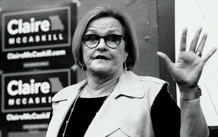 Sen. Claire McCaskill, D-Mo., speaks to supporters at the opening of her campaign field office in Ferguson, Mo., in May. (Digitally altered photo: Bill Boyce/AP)