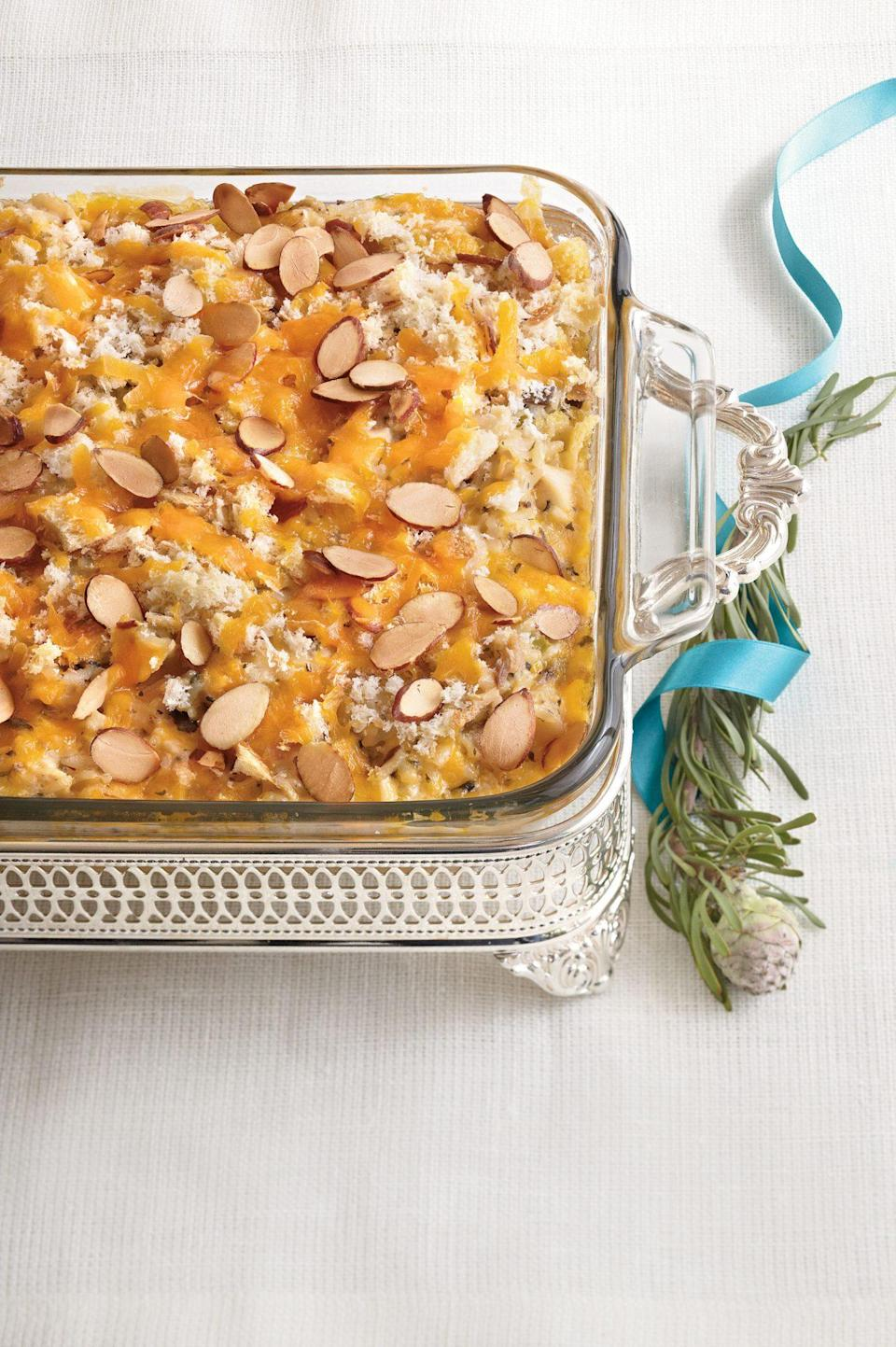 """<p><strong>Recipe: <a href=""""https://www.southernliving.com/syndication/chicken-wild-rice-casserole"""" rel=""""nofollow noopener"""" target=""""_blank"""" data-ylk=""""slk:Chicken and Wild Rice Casserole"""" class=""""link rapid-noclick-resp"""">Chicken and Wild Rice Casserole</a></strong></p> <p>If you want to swap up the menu from chicken, this casserole can also be prepared with shrimp. </p>"""