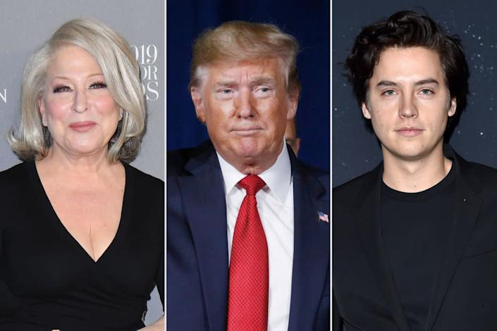 Bette Midler; Donald Trump; Cole Sprouse | ANGELA WEISS/AFP via Getty Images; Luke Sharrett/Bloomberg via Getty Images; Axelle/Bauer-Griffin/FilmMagic