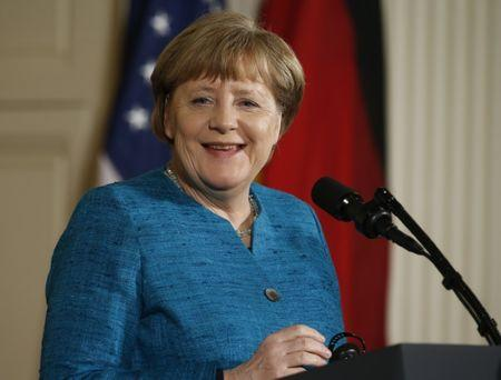U.S. President Trump and German Chancellor Merkel hold a joint news conference in Washington