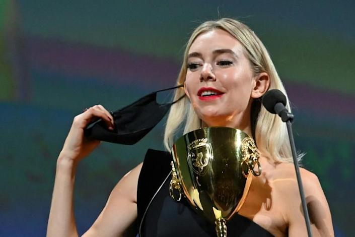 "British actress Vanessa Kirby won best actress for her performance in ""Pieces of a Woman"" by Kornel Mundruczo about a home birth that goes wrong"