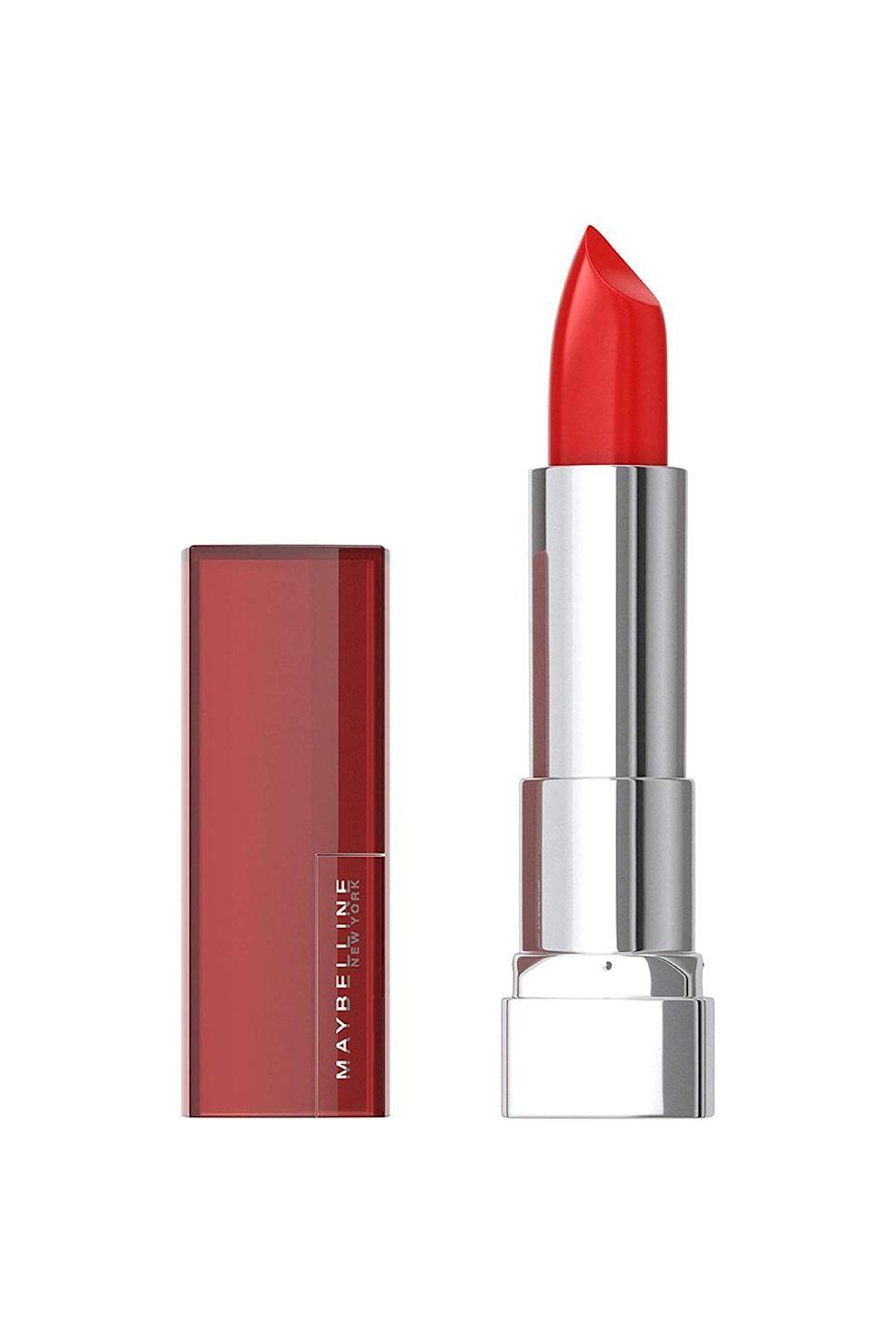 "<p><strong>Maybelline New York</strong></p><p>amazon.com</p><p><strong>$5.62</strong></p><p><a href=""https://www.amazon.com/dp/B002LFLQ8W?tag=syn-yahoo-20&ascsubtag=%5Bartid%7C10072.g.34963135%5Bsrc%7Cyahoo-us"" rel=""nofollow noopener"" target=""_blank"" data-ylk=""slk:Shop Now"" class=""link rapid-noclick-resp"">Shop Now</a></p><p>Need a pick-me-up that's just as strong as your morning cup of coffee? Enter Maybelline's Color Sensational Lipstick in Red Revival. One swipe of the creamy, dreamy drugstore formula (which, honestly, is just as good as the designer stuff ) coats your lips in hydrating shea butter, as well as a rich, deep red shade that'll brighten any complexion.</p>"