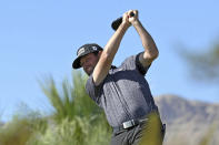 Robert Streb tees off on the 10th hole during first round of the CJ Cup golf tournament, Thursday, Oct. 14, 2021, in Las Vegas. (AP Photo/David Becker)