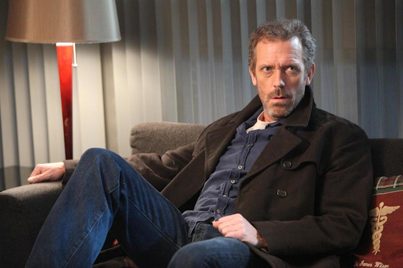 """In this publicity photo released by FOX, Hugh Laurie as House is shown in an episode of """"House."""" The medical series which concluded an eight-year run failed to land an Emmy nomination on Thursday, July 19, 2012. The 64th annual Primetime Emmy Awards will be presented Sept. 23 at the Nokia Theatre in Los Angeles, hosted by Jimmy Kimmel and airing live on ABC. (AP Photo/FOX, Adam Taylor)"""
