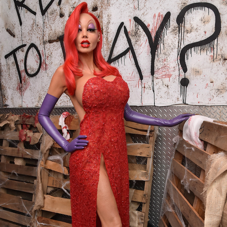 "Take a note from Heidi Klum and dress up like a sultry icon <a href=""https://www.allure.com/story/heidi-klum-halloween-2015?mbid=synd_yahoo_rss"">Jessica Rabbit</a>. Latex purple gloves and a bright red dress with a dangerously revealing slit are two non-negotiable parts of this costume. <a href=""https://www.allure.com/gallery/wigs-last-minute-halloween-costume-sale?mbid=synd_yahoo_rss"">Grab a red wig</a> from any party store and your go-to purple eye shadow palette to complete the look. <a href=""https://www.youtube.com/watch?v=Ps4Xf-QrH9g"">Here's a cute Jessica Rabbit makeup tutorial</a> to help you perfect that cartoon smoky eye."