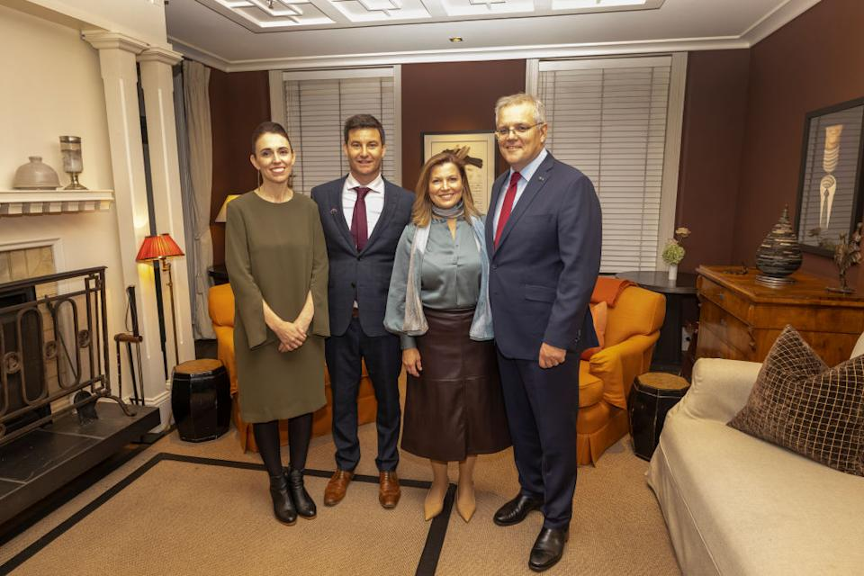 New Zealand Prime Minister Jacinda Ardern with partner Clarke Gayford, and Australian Prime Minister Scott Morrison with wife Jenny during a dinner at Queenstown's Eichardts Private Hotel.