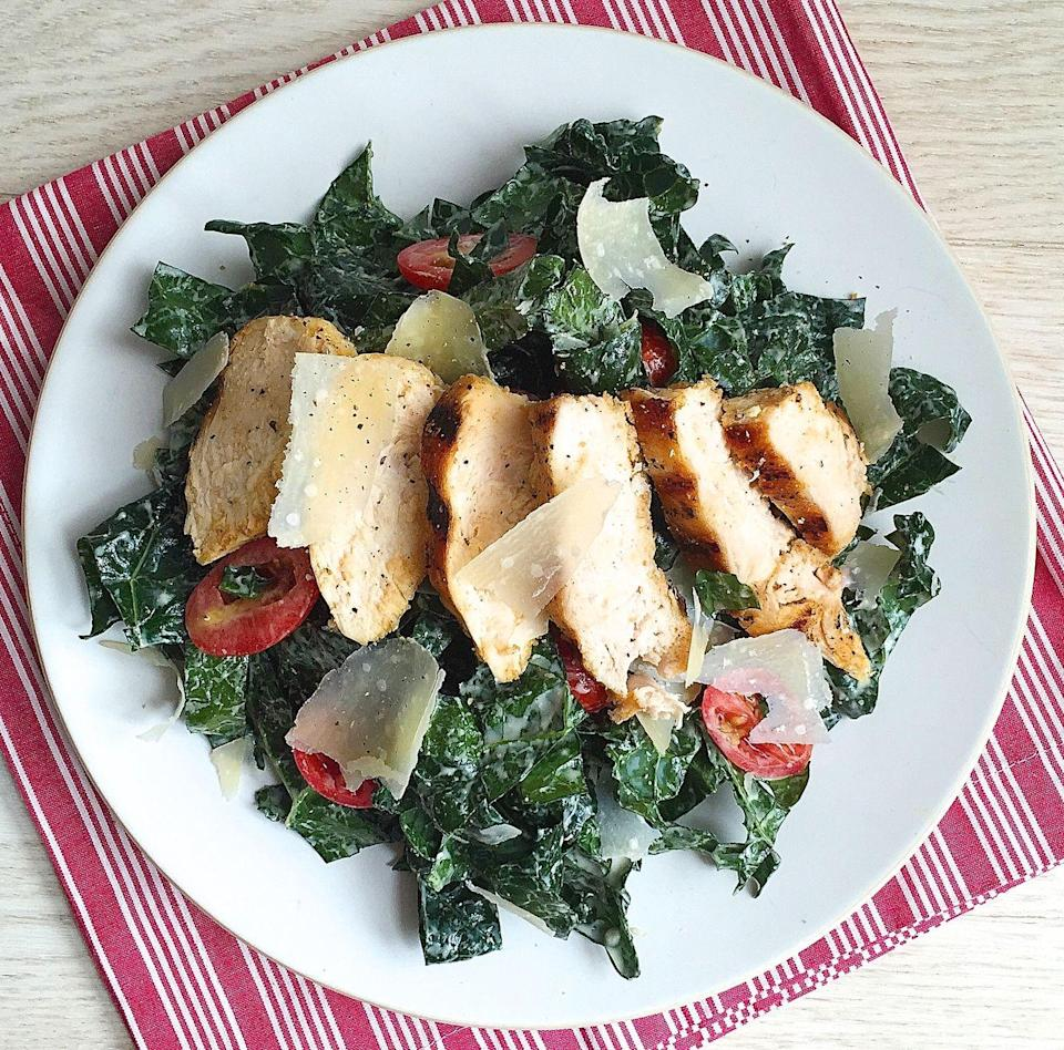 """<p>Caesar salad leaves the 90s with this kale twist.</p><p>Get the recipe from <a href=""""https://www.delish.com/cooking/recipe-ideas/recipes/a43058/best-kale-caesar-salad-grilled-chicken-recipe/"""" rel=""""nofollow noopener"""" target=""""_blank"""" data-ylk=""""slk:Delish"""" class=""""link rapid-noclick-resp"""">Delish</a></p>"""