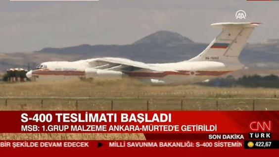 Turkish television channels showed arrivals of first parts to assemble Russian S-400 air defence systems. (CNN Turk)