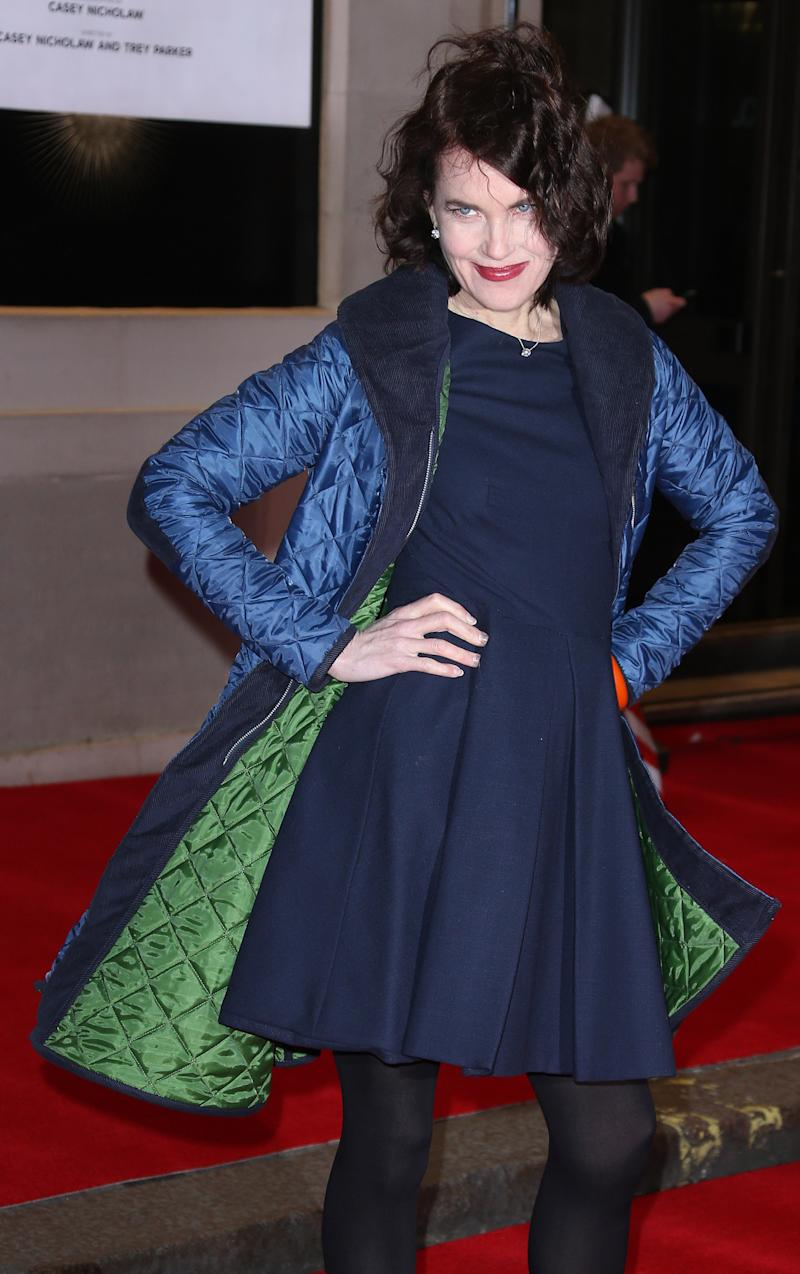 Elizabeth McGovern arrives at The Prince of Wales theatre in central London for the opening night of The Book of Mormon, Thursday, March 21, 2013. (Photo by Joel Ryan/Invision/AP)