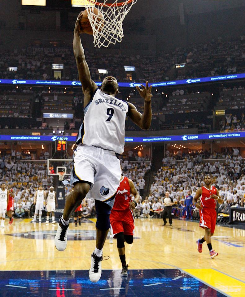 MEMPHIS, TN - MAY 13:  Tony Allen #9 of the Memphis Grizzlies goes up for a layup against the Los Angeles Clippers in Game Seven of the Western Conference Quarterfinals in the 2012 NBA Playoffs at FedExForum on May 13, 2012 in Memphis, Tennessee.  NOTE TO USER: User expressly acknowledges and agrees that, by downloading and or using this photograph, User is consenting to the terms and conditions of the Getty Images License Agreement  (Photo by Kevin C. Cox/Getty Images)