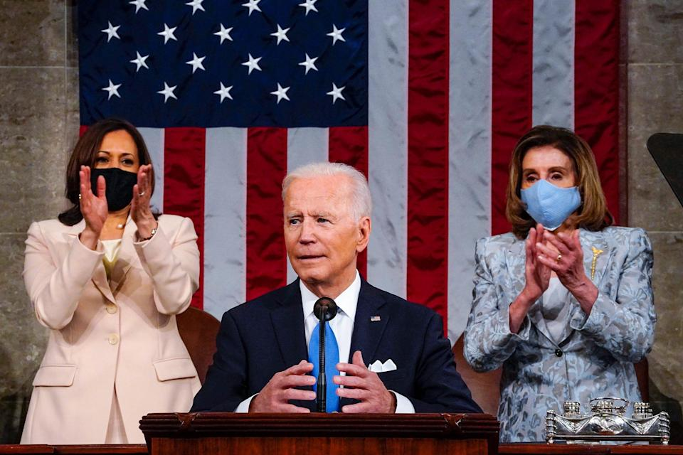 President Joe Biden is pictured addressing a joint session of Congress.