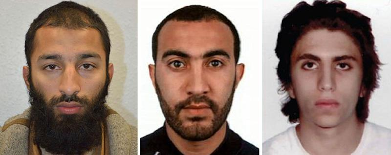 This is undated three photo combo handout photo issued by the Metropolitan Police on Tuesday June 6, 2017 of Khuram Shazad Butt, left, Rachid Redouane, centre and Youssef Zaghba who have been named as the suspects in Saturday's attack at London Bridge. (Metropolitan Police via AP)