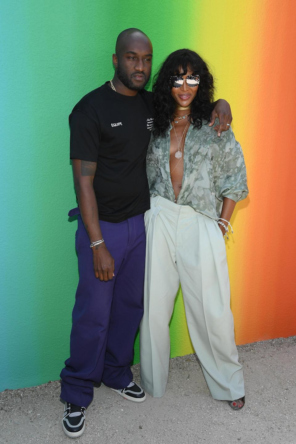 <p>Original super, Naomi Campbell, sat FROW at Virgil Abloh's debut show in seriously low-cut blouse and tailored trousers.<em> [Photo: Getty]</em> </p>