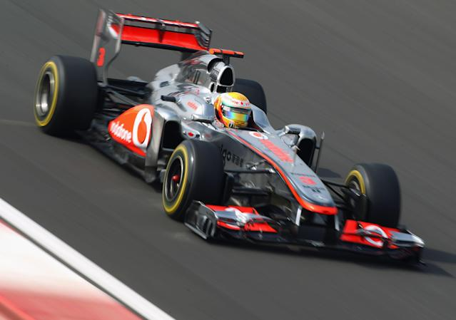 YEONGAM-GUN, SOUTH KOREA - OCTOBER 15: Lewis Hamilton of Great Britain and McLaren drives on his way to finishing first during qualifying for the Korean Formula One Grand Prix at the Korea International Circuit on October 15, 2011 in Yeongam-gun, South Korea. (Photo by Clive Mason/Getty Images)