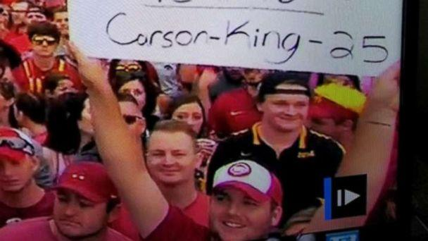 PHOTO: Carson King waved a sign that read 'Busch Light Supply Needs Replenished' during ESPN's 'College GameDay.' (Carson King)