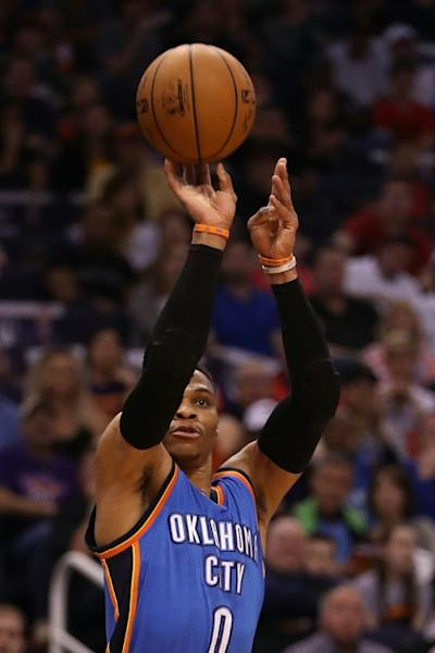 New York crowd saluted Russell Westbrook (pictured) after he completed his 33rd triple-double of the season, leaving him eight shy of Oscar Robertson's all-time record of 41