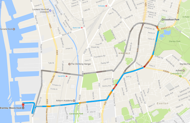 Everton's new stadium site at the Bramley-Moore Dock is less than two miles from their current home at Goodison Park.