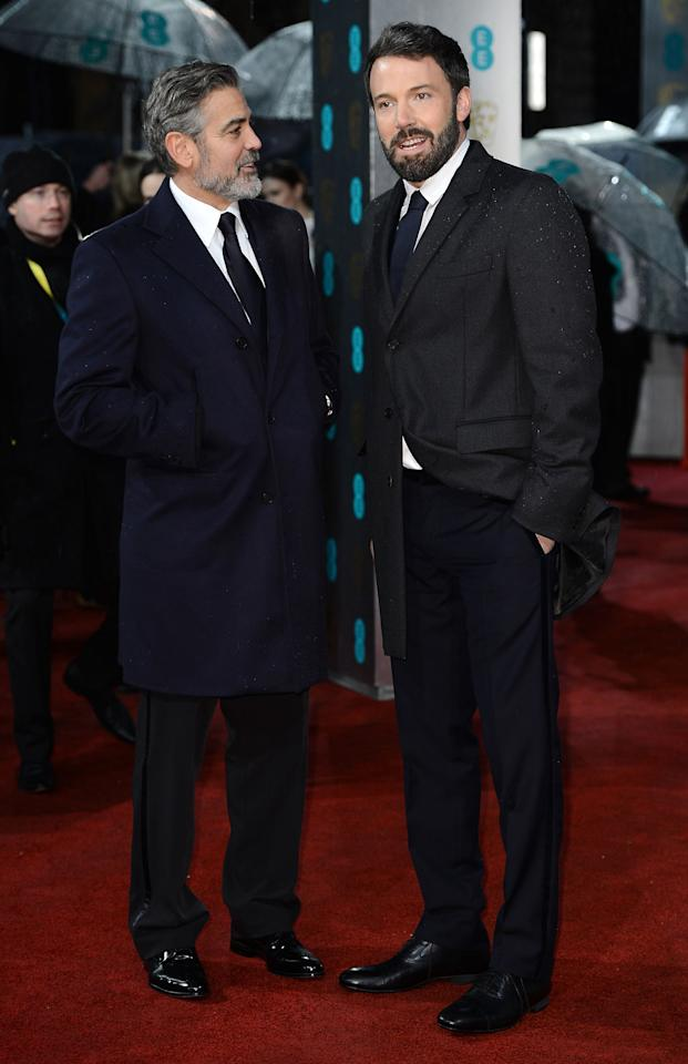 George Clooney and Ben Affleck attend the EE British Academy Film Awards at The Royal Opera House on February 10, 2013 in London, England.  (Photo by Ian Gavan/Getty Images)