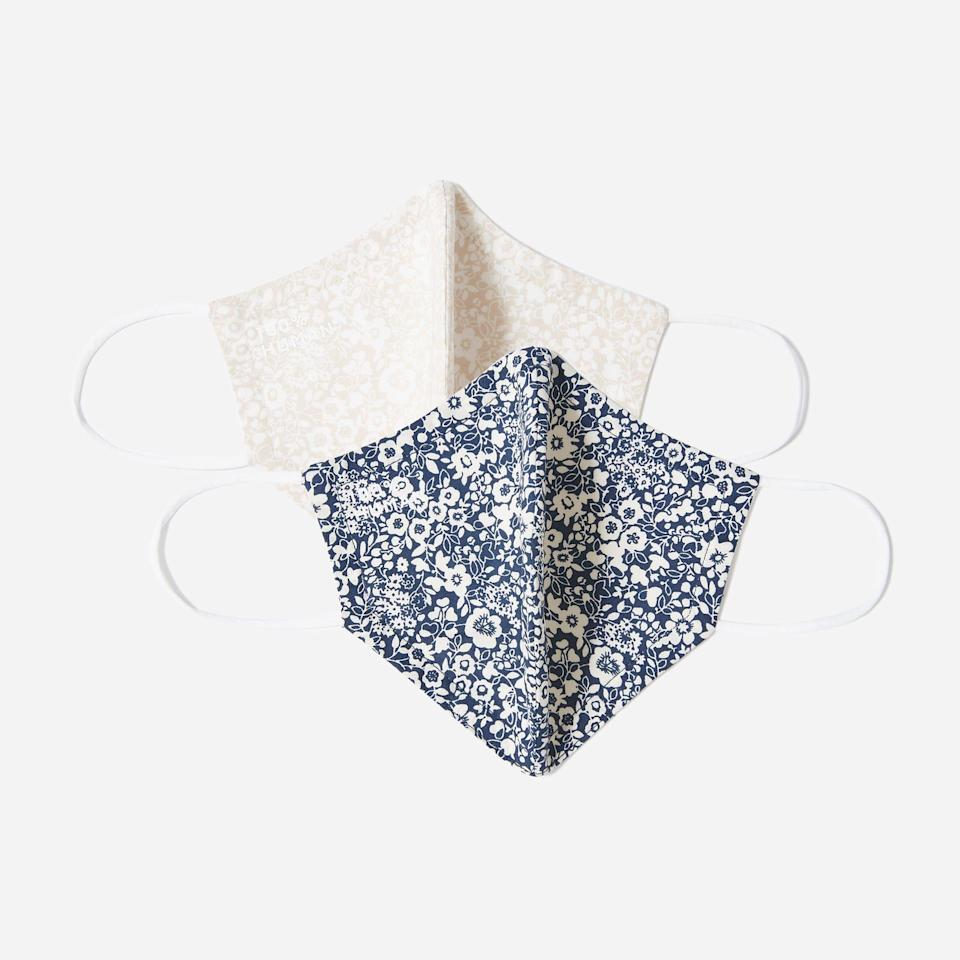 """<p><strong>Everlane</strong></p><p>everlane.com</p><p><strong>$15.00</strong></p><p><a href=""""https://go.redirectingat.com?id=74968X1596630&url=https%3A%2F%2Fwww.everlane.com%2Fproducts%2Funisex-floral-mask-2-assorted&sref=https%3A%2F%2Fwww.elle.com%2Ffashion%2Fshopping%2Fg32215868%2Ffashion-face-masks%2F"""" rel=""""nofollow noopener"""" target=""""_blank"""" data-ylk=""""slk:Shop Now"""" class=""""link rapid-noclick-resp"""">Shop Now</a></p><p>Ten percent of the sales of Everlane's masks will be donated from the <a href=""""https://www.aclu.org/"""" rel=""""nofollow noopener"""" target=""""_blank"""" data-ylk=""""slk:ACLU"""" class=""""link rapid-noclick-resp"""">ACLU</a>. </p>"""