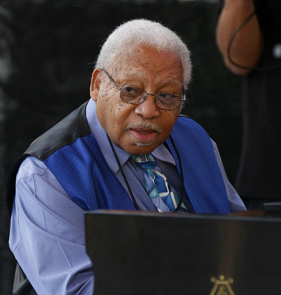 Ellis Marsalis performs at a sunrise concert marking International Jazz Day in New Orleans, Monday, April 30, 2012. The performance, at Congo Square near the French Quarter, is one of two in the United States that day; the other is in the evening in New York. Thousands of people across the globe are expected to participate in International Jazz Day, including events in Belgium, France, Brazil, Algeria and Russia. (AP Photo/Gerald Herbert)