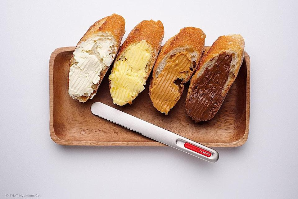 <p>Spreading butter straight out of the fridge can be annoying, but the <span>That! Inventions Spread That Serrated Warming Butter Knife and Spreader</span> ($20) is truly game-changing.</p>
