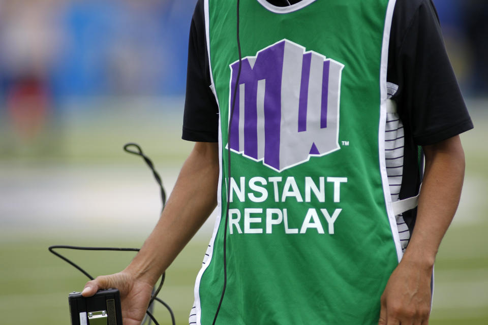 The Mountain West Conference logo is seen on a member of the instant replay crew during a game between Tulsa San Jose State on Sept. 7, 2019. (Larry Placido/Icon Sportswire via Getty Images)