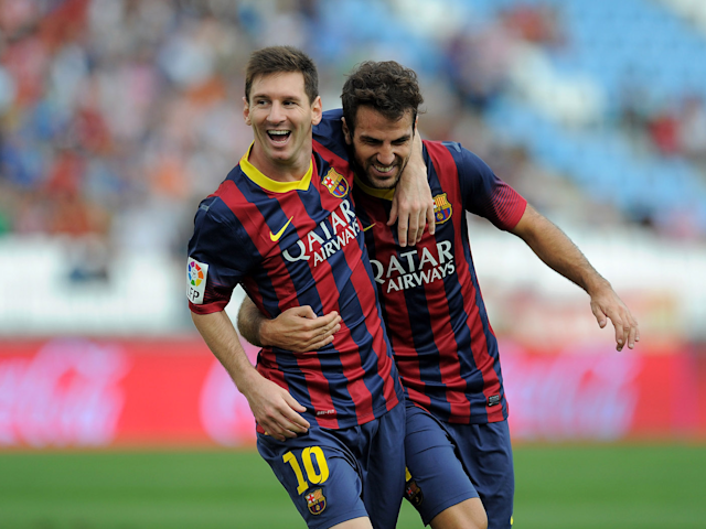 Leo Messi (left) and Cesc Fabregas (right) during their time together at Barcelona.