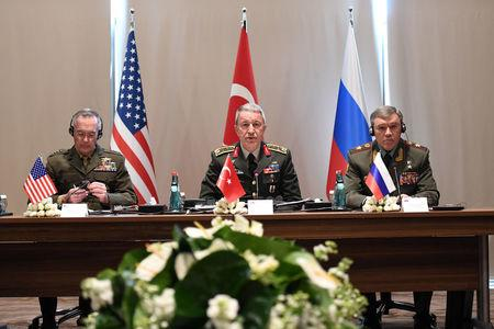 Turkey's Chief of Staff General Hulusi Akar meets with U.S. Chairman of the Joint Chiefs of Staff Joseph Dunford and Russian Armed Forces Chief of Staff Valery Gerasimov in Antalya, Turkey March 7, 2017. Turkish Military/Handout via REUTERS