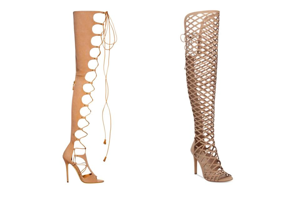 """<p>Brian Atwood for Victoria's Secret """"162"""" gladiator lace-up heels, left, and Vince Camuto over-the-knee caged sandals, <a rel=""""nofollow noopener"""" href=""""https://www.macys.com/shop/product/vince-camuto-keliana-over-the-knee-caged-sandals"""" target=""""_blank"""" data-ylk=""""slk:$199 Macy's"""" class=""""link rapid-noclick-resp"""">$199 Macy's</a> (Photo: Victoria's Secret/Macy's) </p>"""