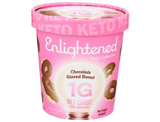 """<p><strong>Enlightened</strong></p><p>foodservicedirect.com</p><p><a href=""""https://www.foodservicedirect.com/enlightened-keto-chocolate-glazed-donut-ice-cream-1-pint-8-per-case-23023991.html"""" rel=""""nofollow noopener"""" target=""""_blank"""" data-ylk=""""slk:BUY NOW"""" class=""""link rapid-noclick-resp"""">BUY NOW</a></p><p>""""The Enlightened keto collection of ice creams is the lowest in net carbs on the market, with each flavor providing only 1 gram net carb,"""" she says. They come in a variety of delicious and creative flavors. The Chocolate Glazed Donut has 180 calories, 1 g net carbs, and less than 1 g sugar.</p>"""