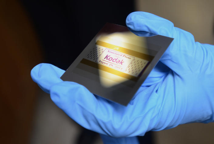 This Aug. 28, 2013 photo shows an example of what a piece of silicon looks like with Kodak print inhibiting ink at Kodak research labs in Rochester, N.Y. Kodak print inhibiting ink is used for printing electronics. (AP Photos/Heather Ainsworth)