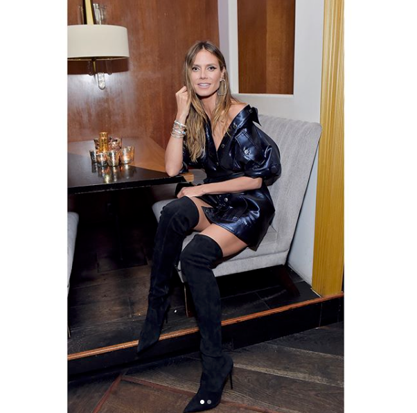 <p>Heidi shows off her long legs in some sexy thigh-high black boots. Source: Instagram/heidiklum </p>