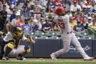 St. Louis Cardinals' Edmundo Sosa hits an RBI sacrifice fly during the fourth inning of a baseball game against the Milwaukee Brewers Sunday, Sept. 5, 2021, in Milwaukee. (AP Photo/Morry Gash)