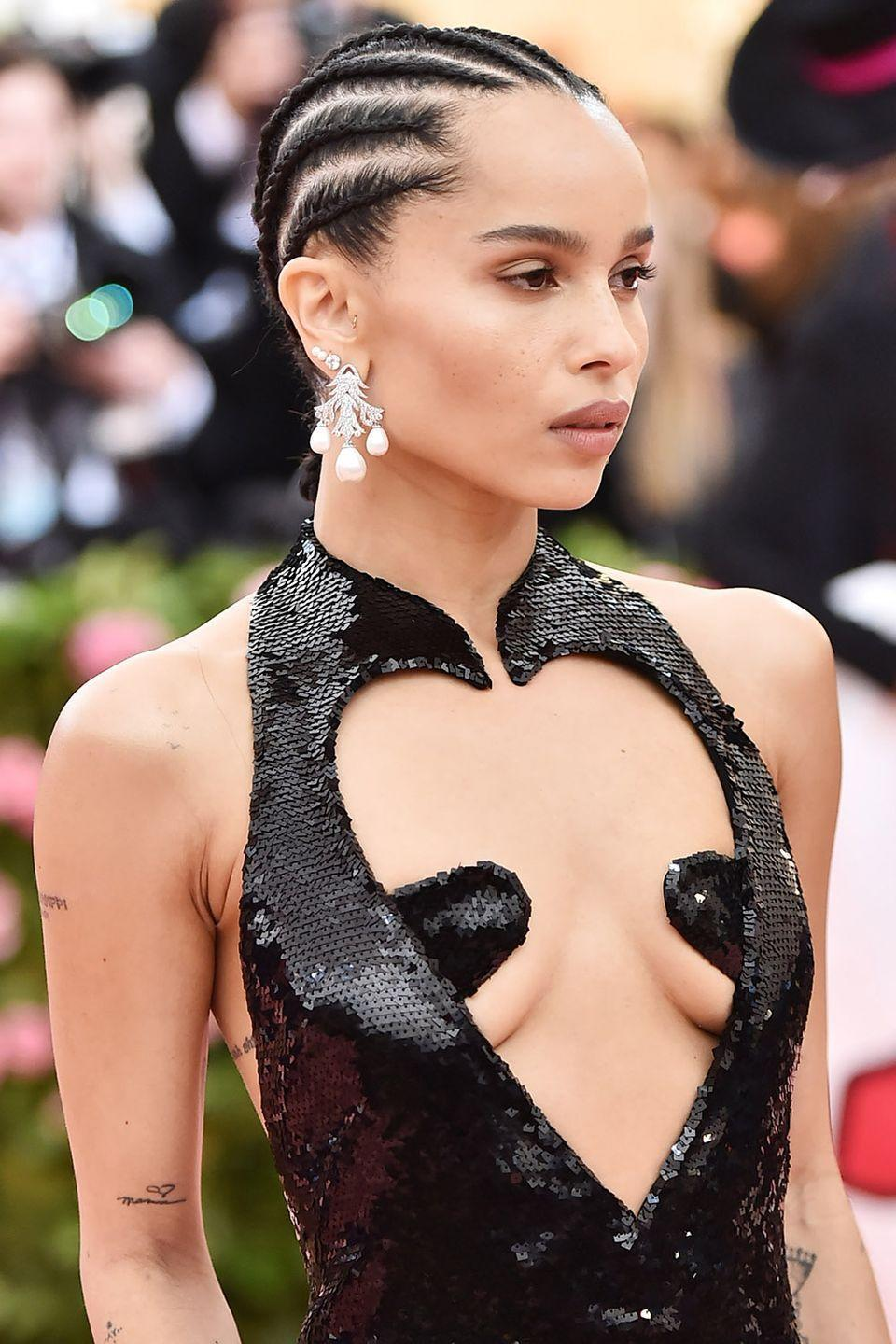 <p>You can totally do cornrows on short hair, as seen here on Zoe Kravitz. Taylor recommends having about two inches of hair length in order to style your hair into cornrows, otherwise she says the hair won't be long enough to braid. </p>