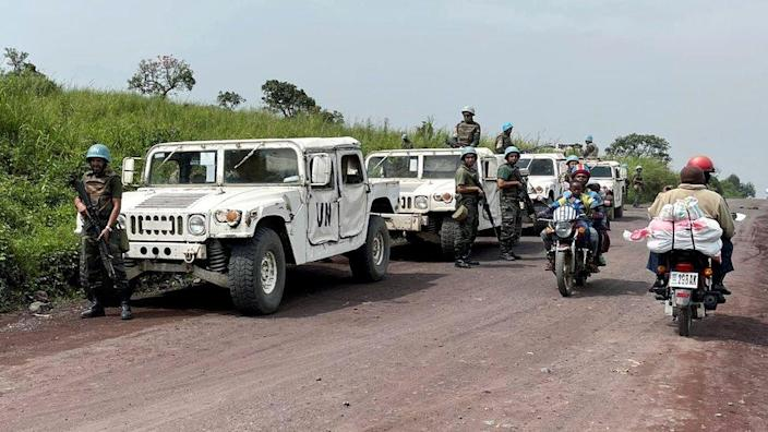 Peacekeepers secure the scene where the Italian ambassador to Democratic Republic of Congo, Luca Attanasio, was killed in Ruhimba village