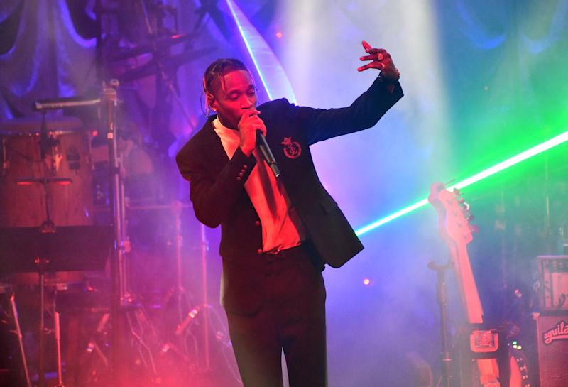 Travis Scott performs onstage during The Recording Academy and Clive Davis' 2019 Pre-GRAMMY Gala Show at The Beverly Hilton Hotel on February 09, 2019 in Beverly Hills, California.