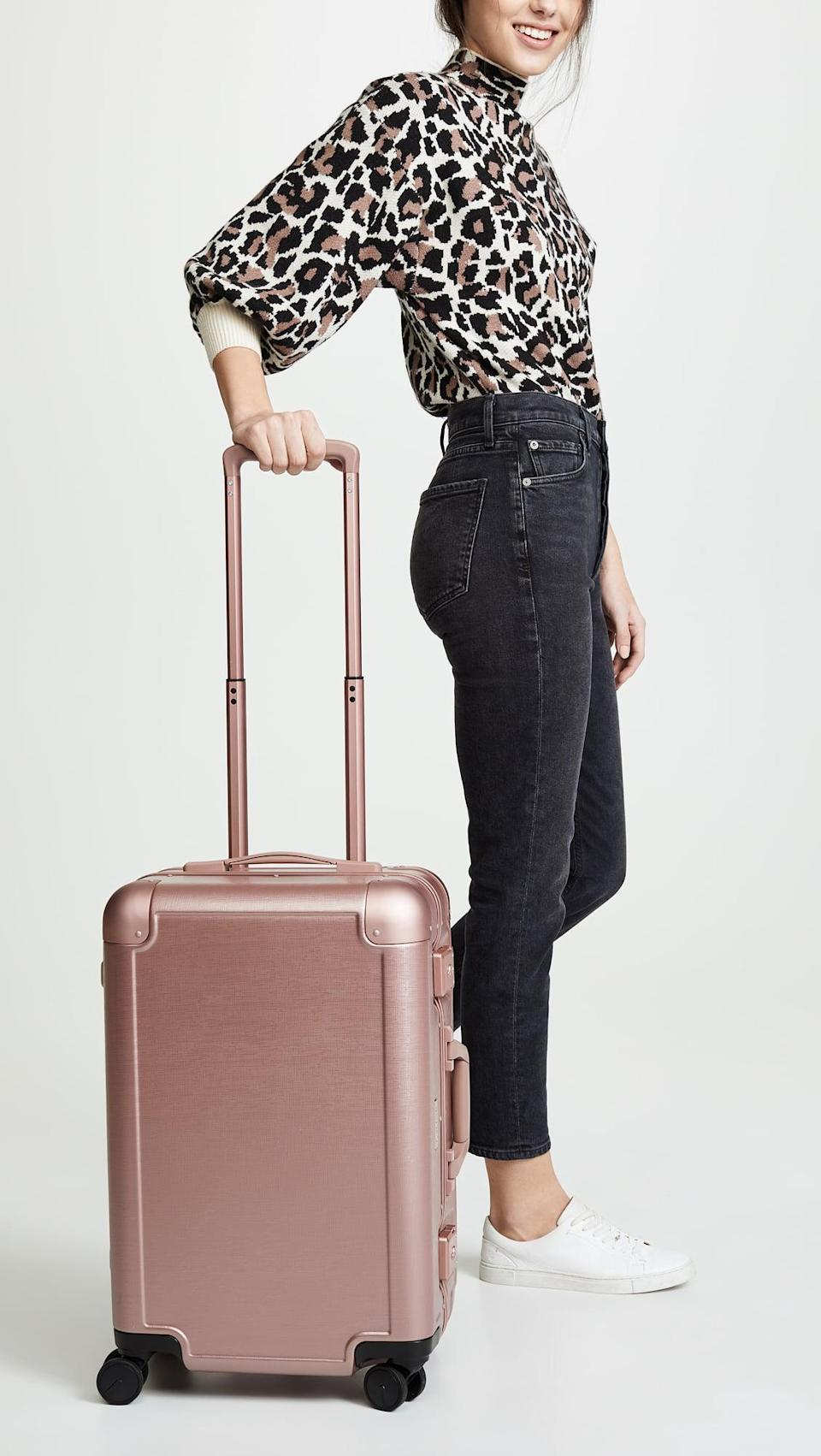 <p>This metallic pink <span>Calpak x Jen Atkin Carry On Suitcase</span> ($228, originally $285) is at the top of our travel wish lists. It's cute, chic, and even comes with a fun sticker set.</p>