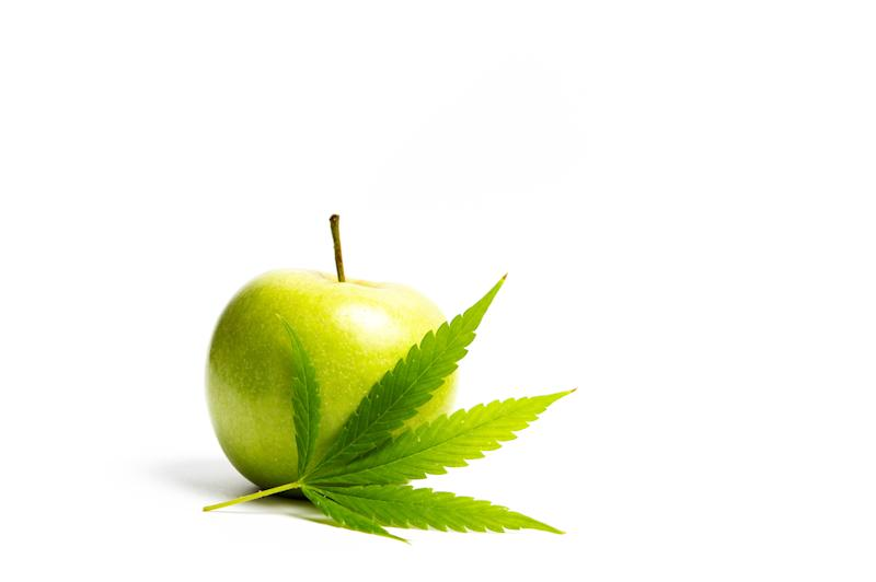 Marijuana leaf in front of a green apple.