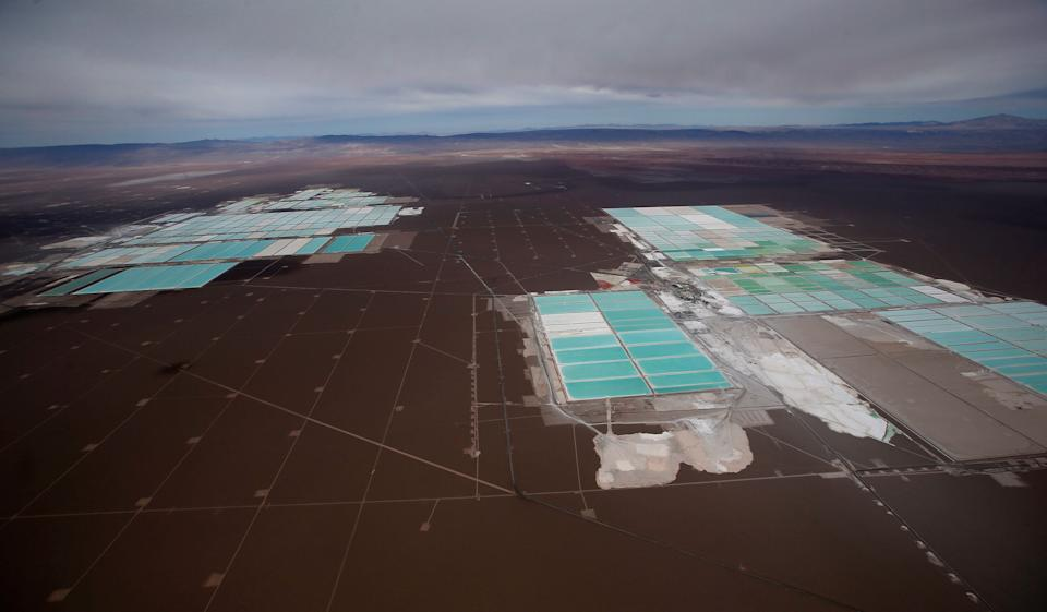 An aerial view shows the brine pools of SQM lithium mine on the Atacama salt flat in the Atacama desert of northern Chile. (Photo: Ivan Alvarado/Reuters)