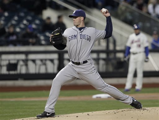 San Diego Padres starting pitcher Clayton Richard works in the first inning of a baseball game against the New York Mets, Wednesday, April 3, 2013, in New York. (AP Photo/Mark Lennihan)