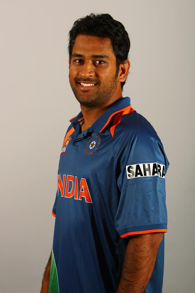 LONDON, ENGLAND - JUNE 02:  MS Dhoni of India poses for a portrait prior to the ICC World Twenty20 at the Royal Garden Hotel on June 2, 2009 in London, England.  (Photo by Ian Walton/Getty Images)