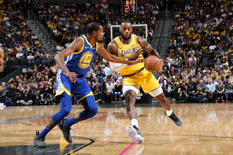 buy popular b8778 3e651 It didn t take LeBron James and Lonzo Ball long to log their first  highlight clip in their on-court debut together. (Getty)