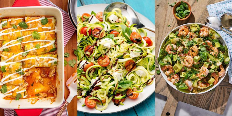 """<p>Courgettes are quite frankly one of our favourite veggies. Transform it into any dish you like and you will fall in love with its yummy taste and texture. How about baking it in some <a href=""""https://www.delish.com/uk/cooking/recipes/a28960808/zucchini-enchiladas-recipe/"""" rel=""""nofollow noopener"""" target=""""_blank"""" data-ylk=""""slk:enchiladas"""" class=""""link rapid-noclick-resp"""">enchiladas</a>, or cooking it up in some <a href=""""https://www.delish.com/uk/cooking/recipes/a28960870/zoodle-ramen-recipe/"""" rel=""""nofollow noopener"""" target=""""_blank"""" data-ylk=""""slk:ramen"""" class=""""link rapid-noclick-resp"""">ramen</a>? The choices are simply endless... </p><p>More about that aubergine life? No probs, check out our <a href=""""https://www.delish.com/uk/cooking/recipes/g28961707/aubergine-recipes/"""" rel=""""nofollow noopener"""" target=""""_blank"""" data-ylk=""""slk:Aubergine Recipes"""" class=""""link rapid-noclick-resp"""">Aubergine Recipes</a> instead. </p>"""