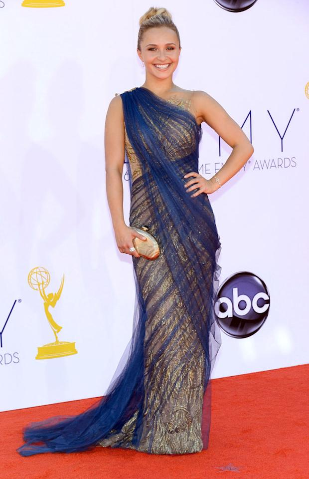 Hayden Panettiere arrives at the 64th Primetime Emmy Awards at the Nokia Theatre in Los Angeles on September 23, 2012.