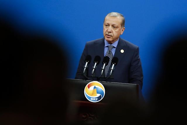 <p>Turkish President Recep Tayyip Erdogan speaks during the opening ceremony of the Belt and Road Forum in Beijing, Sunday, May 14, 2017. (Thomas Peter/Pool Photo via AP) </p>