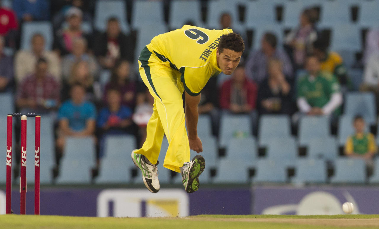 Australia's bowler Nathan Coulter-Nile bowls during their T20 Cricket match against South Africa at Centurion Park in Pretoria, South Africa, Friday, March 14, 2014. (AP Photo/Themba Hadebe)