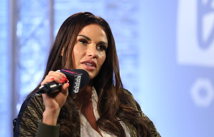 LONDON, ENGLAND - OCTOBER 20:  Katie Price discussing her new book 'Playing with Fire' and her career at BUILD London on October 20, 2017 in London, England.  (Photo by Tim P. Whitby/Tim P. Whitby/Getty Images)